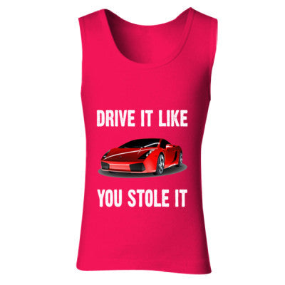 Drive It Like You Stole It - Ladies' Soft Style Tank Top S-Cherry Red- Cool Jerseys - 1