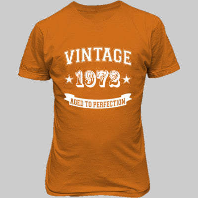 Vintage 1972 Aged To Perfection tshirt - Unisex T-Shirt FRONT Print S-Safety Orange- Cool Jerseys - 1