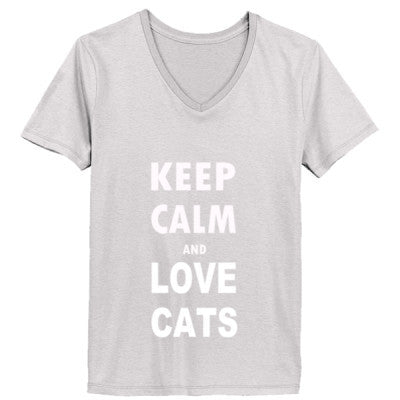 Keep Calm And Love Cats - Ladies' V-Neck T-Shirt - Cool Jerseys - 1