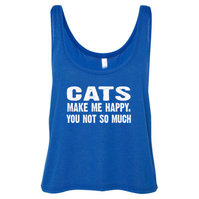 Cats Make me happy, you not so much tshirt - Ladies' Cropped Tank Top S-True Royal- Cool Jerseys - 1