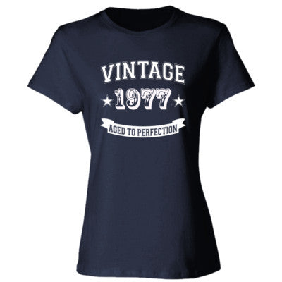 Vintage 1977 Aged To Perfection tshirt - Ladies' Cotton T-Shirt S-Deep Navy- Cool Jerseys - 1