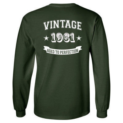 Vintage 1961 Aged To Perfection - Long Sleeve T-Shirt - BACK PRINT ONLY S-Forest Green- Cool Jerseys - 1