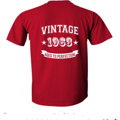 Vintage 1963 Aged To Perfection - Ultra-Cotton T-Shirt Back Print Only S-Cardinal Red- Cool Jerseys - 1