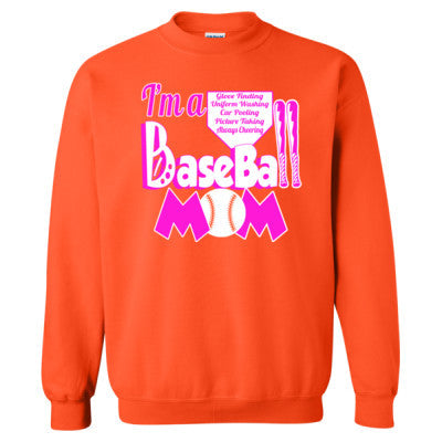 Baseball Mom Tee - Heavy Blend™ Crewneck Sweatshirt S-Orange- Cool Jerseys - 1