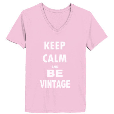 Keep Calm And Be Vintage - Ladies' V-Neck T-Shirt - Cool Jerseys - 1