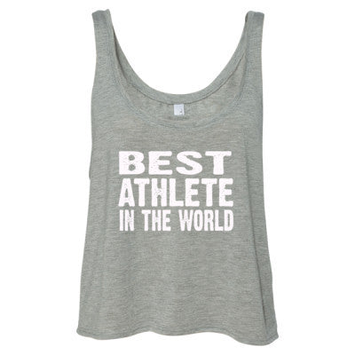 Best Athlete In The World - Ladies' Cropped Tank Top S-Athletic Heather- Cool Jerseys - 1