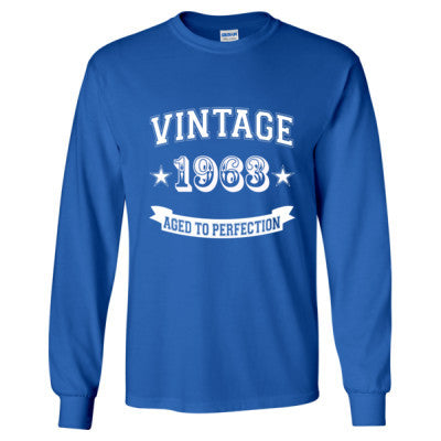 Vintage 1963 Aged To Perfection - Long Sleeve T-Shirt S-Royal- Cool Jerseys - 1