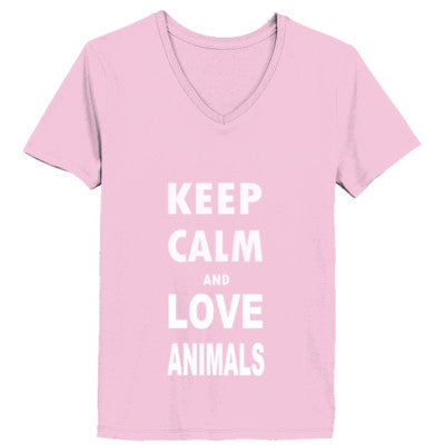 Keep Calm And Love Animals - Ladies' V-Neck T-Shirt - Cool Jerseys - 1