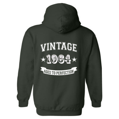 Vintage 1964 Aged To Perfection - Heavy Blend™ Hooded Sweatshirt BACK ONLY S-Forest- Cool Jerseys - 1