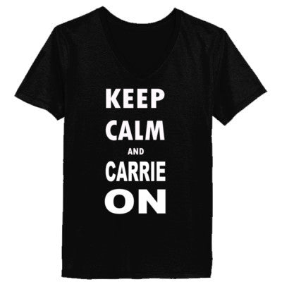 Keep Calm and Carrie On - Ladies' V-Neck T-Shirt - Cool Jerseys - 1