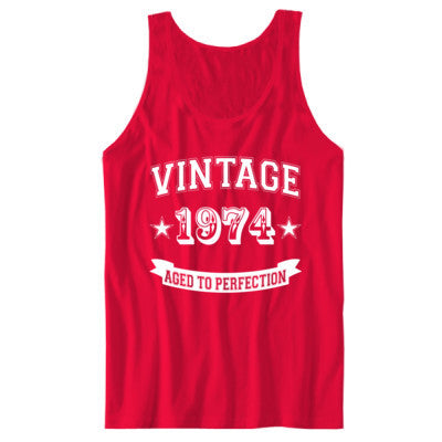 Vintage 1974 Aged To Perfection tshirt - Unisex Jersey Tank - Cool Jerseys - 1