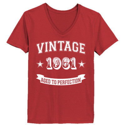Vintage 1961 Aged To Perfection - Ladies' V-Neck T-Shirt XS-Vintage Red- Cool Jerseys - 1