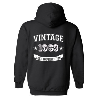 Vintage 1963 Aged To Perfection - Heavy Blend™ Hooded Sweatshirt BACK ONLY S-Black- Cool Jerseys - 1