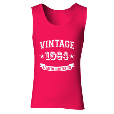 Vintage 1964 Aged To Perfection - Ladies' Soft Style Tank Top S-Cherry Red- Cool Jerseys - 1