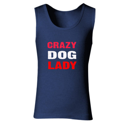 Crazy Dog Lady tshirt - Ladies' Soft Style Tank Top S-Navy- Cool Jerseys - 1