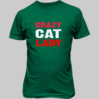 Crazy Cat Lady tshirt - Unisex T-Shirt FRONT Print S-Kelly Green- Cool Jerseys - 1