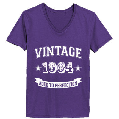 Vintage 1964 Aged To Perfection - Ladies' V-Neck T-Shirt XS-Purple- Cool Jerseys - 1