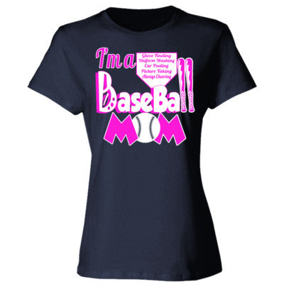 Baseball Mom Tee - Ladies' Cotton T-Shirt S-Deep Navy- Cool Jerseys - 1
