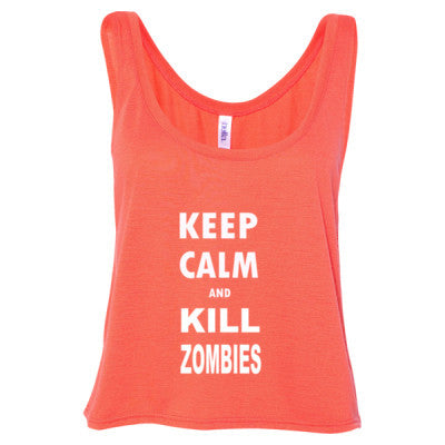 Keep Calm And Kill Zombies - Ladies' Cropped Tank Top - Cool Jerseys - 1