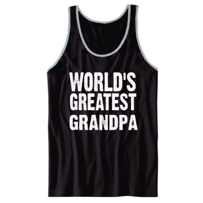 Worlds Greatest Grandpa - Unisex Jersey Tank XS-Black- Cool Jerseys - 1