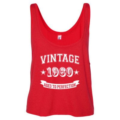Vintage 1960 Aged To Perfection - Ladies' Cropped Tank Top S-Red- Cool Jerseys - 1