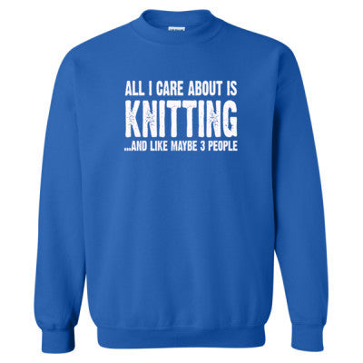 All i Care About Is Knitting tshirt - Heavy Blend™ Crewneck Sweatshirt S-Royal- Cool Jerseys - 1