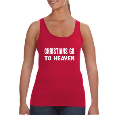 Christians go to heaven tshirt - Ladies Tank Top S-Independence Red- Cool Jerseys - 1