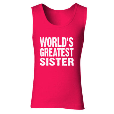 Worlds Greatest Sister - Ladies' Soft Style Tank Top S-Cherry Red- Cool Jerseys - 1