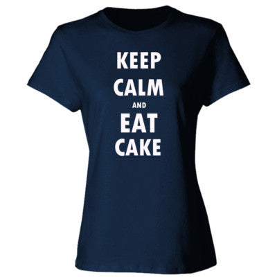 Keep Calm And Eat Cake - Ladies' Cotton T-Shirt S-Navy- Cool Jerseys - 1
