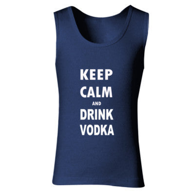 Keep Calm And Drink Vodka - Ladies' Soft Style Tank Top S-Navy- Cool Jerseys - 1