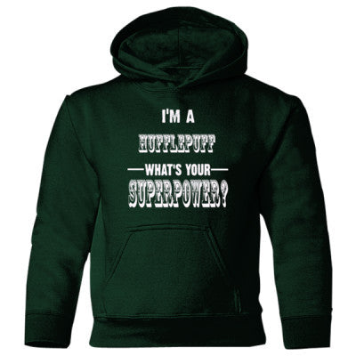 Im A Hufflepuff Whats Your Superpower? - Heavy Blend Children's Hooded Sweatshirt S-Forest Green- Cool Jerseys - 1