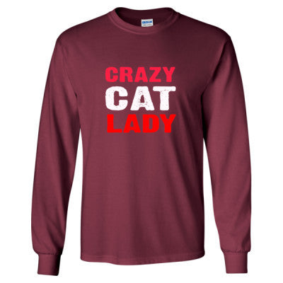 Crazy Cat Lady tshirt - Long Sleeve T-Shirt S-Maroon- Cool Jerseys - 1