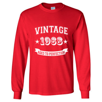 Vintage 1968 Aged To Perfection - Long Sleeve T-Shirt S-Red- Cool Jerseys - 1