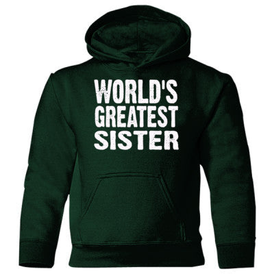 Worlds Greatest Sister - Heavy Blend Children's Hooded Sweatshirt S-Forest Green- Cool Jerseys - 1