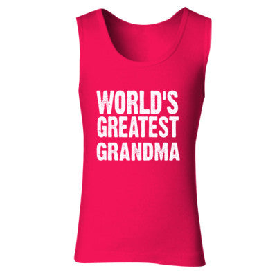 Worlds Greatest Grandma - Ladies' Soft Style Tank Top S-Cherry Red- Cool Jerseys - 1