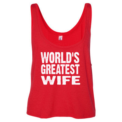 Worlds Greatest Wife - Ladies' Cropped Tank Top S-Red- Cool Jerseys - 1