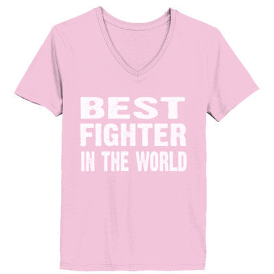 Best Fighter In The World - Ladies' V-Neck T-Shirt XS-Pale Pink- Cool Jerseys - 1