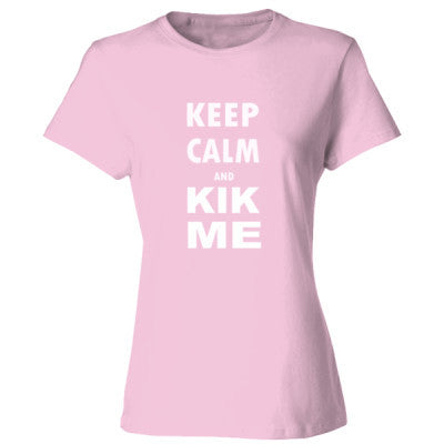 Keep Calm And Kik Me - Ladies' Cotton T-Shirt S-Pale Pink- Cool Jerseys - 1
