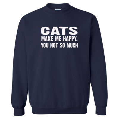 Cats Make me happy, you not so much tshirt - Heavy Blend™ Crewneck Sweatshirt S-Navy- Cool Jerseys - 1