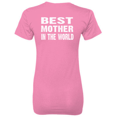 Best Mother In The World - Ladies' 100% Ringspun Cotton nano-T® Back Print Only S-Pink- Cool Jerseys - 1