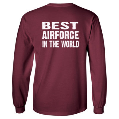 Best Airforce In The World - Long Sleeve T-Shirt - BACK PRINT ONLY S-Maroon- Cool Jerseys - 1