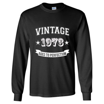 Vintage 1973 Aged To Perfection tshirt - Long Sleeve T-Shirt S-Black- Cool Jerseys - 1