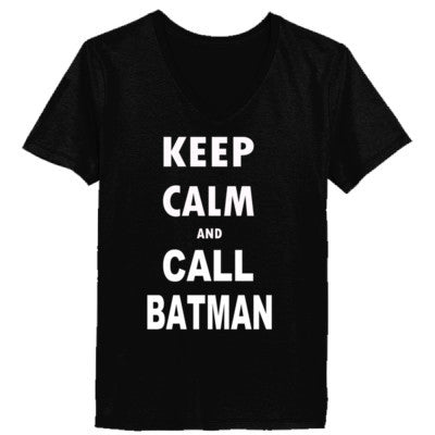 Keep Calm and Call Batman - Ladies' V-Neck T-Shirt - Cool Jerseys - 1