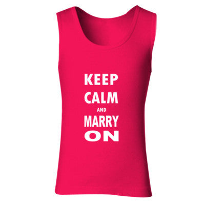 Keep Calm And Marry On - Ladies' Soft Style Tank Top S-Cherry Red- Cool Jerseys - 1