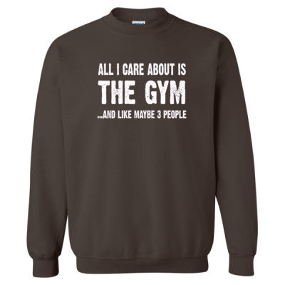 All i Care About Is The Gym tshirt - Heavy Blend™ Crewneck Sweatshirt S-Dark Chocolate- Cool Jerseys - 1