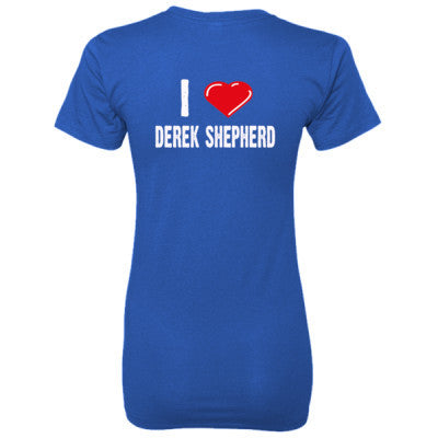 I love Derek Shepherd tshirt - Ladies' 100% Ringspun Cotton nano-T® Back Print Only S-Deep Royal- Cool Jerseys - 1
