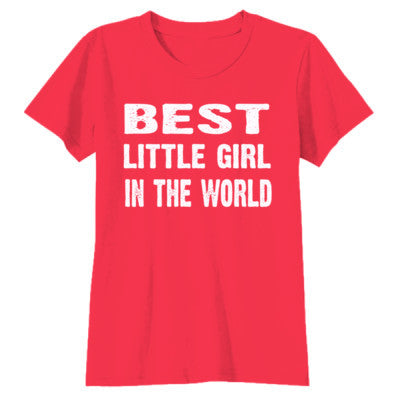 Best Little Girl In The World - Youth Girls Short Sleeve T-Shirt S-Red- Cool Jerseys - 1