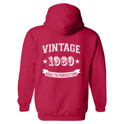 Vintage 1960 Aged To Perfection - Heavy Blend™ Hooded Sweatshirt BACK ONLY S-Cherry Red- Cool Jerseys - 1