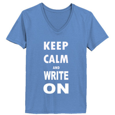 Keep Calm And Write On - Ladies' V-Neck T-Shirt - Cool Jerseys - 1