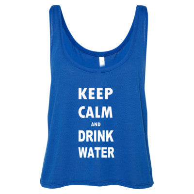 Keep Calm And Drink Water - Ladies' Cropped Tank Top S-True Royal- Cool Jerseys - 1